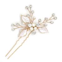 Zinklegierung Haar Stöcke, mit ABS-Kunststoff-Perlen, goldfarben plattiert, für Braut & Emaille & mit Strass, frei von Blei & Kadmium, 80-100mm, 2PCs/Tasche, verkauft von Tasche