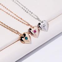 Mode Medaillon Halskette, Messing, mit Verlängerungskettchen von 3.39Inch, 4.33Inch, Herz, plattiert, Oval-Kette & für Frau & mit Strass, keine, frei von Nickel, Blei & Kadmium, 14x12mm, verkauft per ca. 15.7 ZollInch Strang