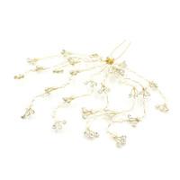 Zinklegierung Haar Stöcke, mit ABS-Kunststoff-Perlen, goldfarben plattiert, für Braut & mit Strass, frei von Blei & Kadmium, 80-100mm, verkauft von PC