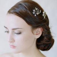 Zinklegierung Haar Stöcke, mit Kristall, goldfarben plattiert, für Braut & facettierte, frei von Blei & Kadmium, 10-20mm, verkauft von PC