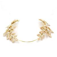 Braut Haarband, Zinklegierung, mit ABS-Kunststoff-Perlen & Ripsband, goldfarben plattiert, für Braut & mit Strass, frei von Blei & Kadmium, 70x43mm, verkauft von PC