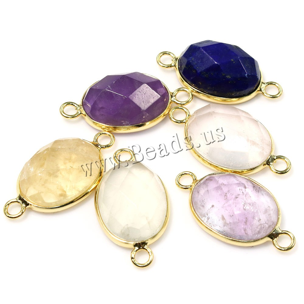 Buy Gemstone Connector Brass Flat Oval real gold plated natural & faceted & 1/1 loop mixed colors 25x13x7mm Hole:Approx 2mm Sold Lot