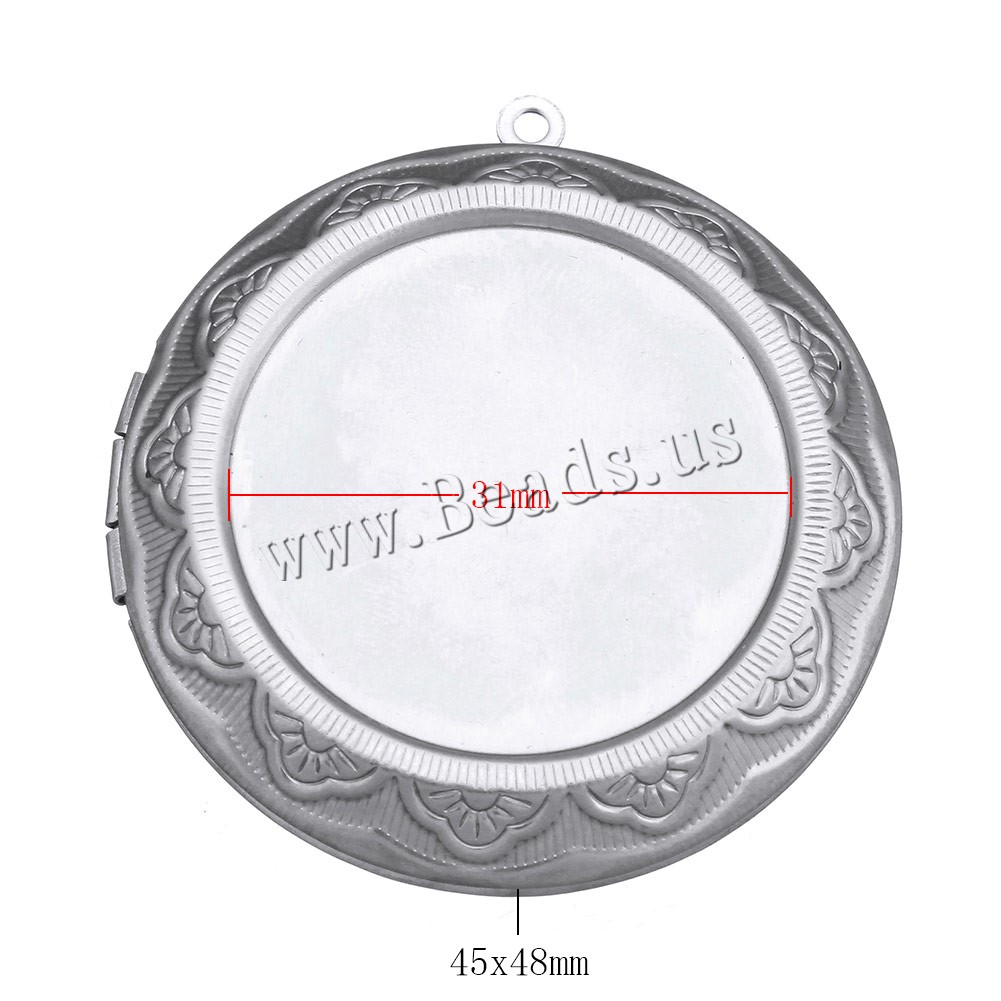 Buy Stainless Steel Locket Pendant Setting Flat Round original color 45x48x10mm Hole:Approx 1.5mm Inner Diameter:Approx 31mm 30mm 2 Sold Lot