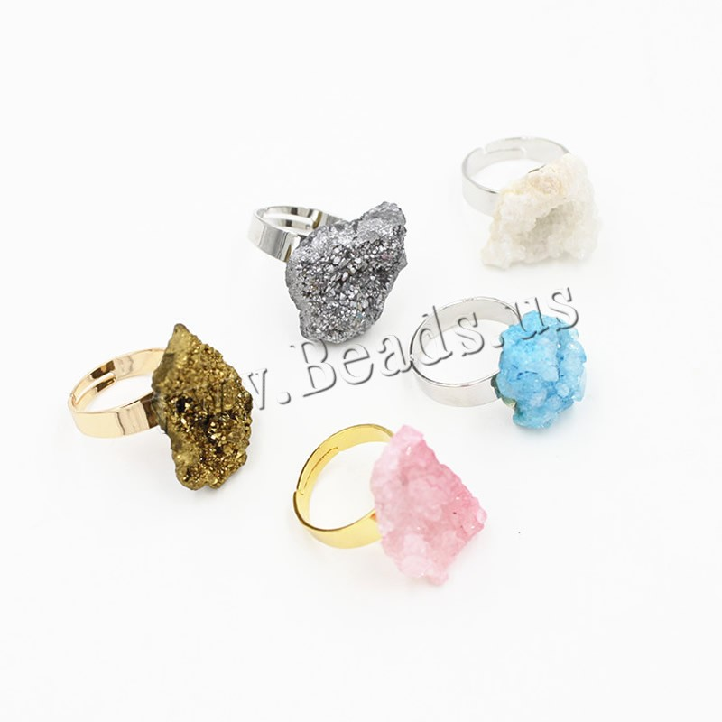 Buy Ice Quartz Agate Open Finger Ring Brass plated druzy style & adjustable & woman mixed colors 20mm US Ring Size:6.5 3PCs/Bag Sold Bag