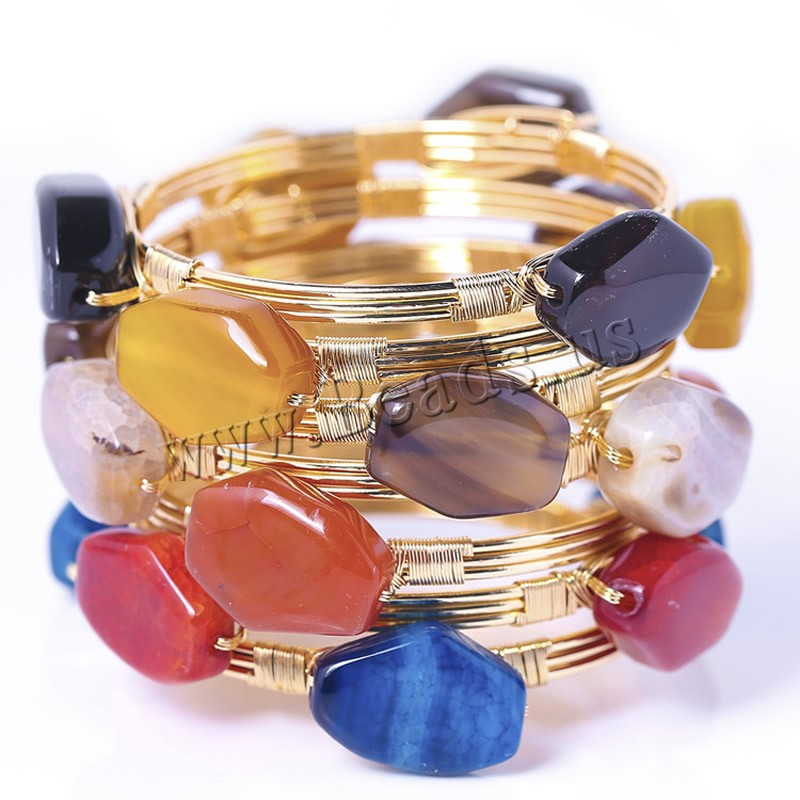 Gemstone Bangle Brass gold color plated woman mixed colors 25-30mm Inner Diameter:Approx 60mm Length:Approx 7 Inch 3PCs/Bag Sold Bag