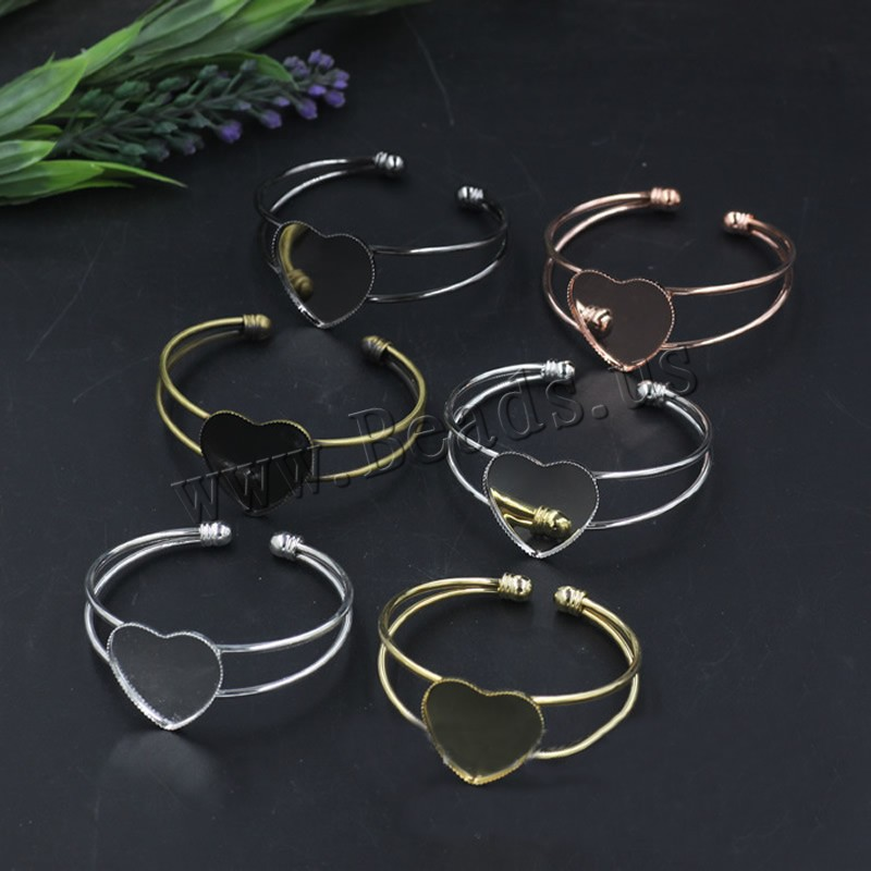 Brass Bangle Cuff Findings Heart plated colors choice nickel lead & cadmium free 65x60mm Inner Diameter:Approx 25 65mm 5PCs/Bag Sold Bag