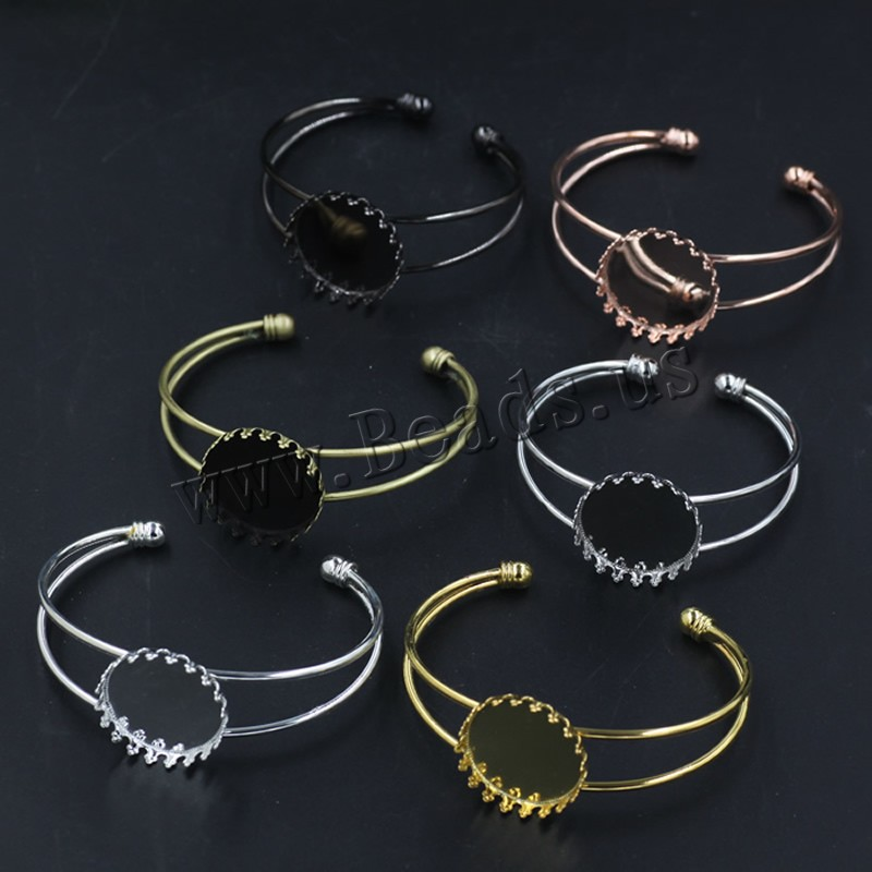 Brass Bangle Cuff Findings Flat Round plated colors choice nickel lead & cadmium free 65x60mm Inner Diameter:Approx 25 65mm 5PCs/Bag Sold Bag