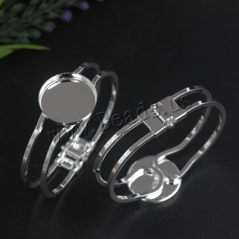 Brass Bracelet & Bangle Flat Round silver color plated nickel lead & cadmium free 65x60mm Inner Diameter:Approx 25 65mm 5PCs/Bag Sold Bag