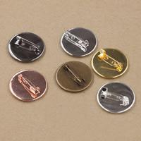 Messing Brosche Zubehör, mit Eisen, flache Runde, plattiert, olika innerdiameter, för val, keine, frei von Nickel, Blei & Kadmium, 20-25mm, 50PCs/Tasche, verkauft von Tasche
