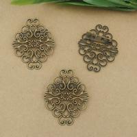 Messing Brosche Zubehör, mit Eisen, antike Bronzefarbe plattiert, frei von Nickel, Blei & Kadmium, 20mm,37x30mm, 20PCs/Tasche, verkauft von Tasche