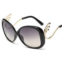 Art- und WeiseSonnenbrillen , Harz, mit PC Kunststofflinse & Zinklegierung, goldfarben plattiert, für Frau & mit Strass, keine, 146x55x130mm, verkauft von PC