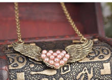 Plastik-Perlenkette, Zinklegierung, mit ABS-Kunststoff-Perlen, Messing antik Farbe überzogen, Oval-Kette & für Frau, frei von Blei & Kadmium, 537x34mm, verkauft per ca. 21 ZollInch Strang