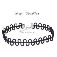 Tätowierung-Choker-Halskette, PU Leder, mit Zinklegierung, mit Verlängerungskettchen von 7cm, frei von Blei & Kadmium, 320mm, verkauft per ca. 12.5 ZollInch Strang