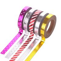 Dekorative Band, Papier, klebrig & gemischt & Golddruck, 8mm, 5PCs/Tasche, ca. 10m/PC, verkauft von Tasche