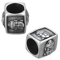 Buddhistische Perlen, Edelstahl, Rechteck, Schwärzen, 13x12x11mm, Bohrung:ca. 8mm, 10PCs/Menge, verkauft von Menge