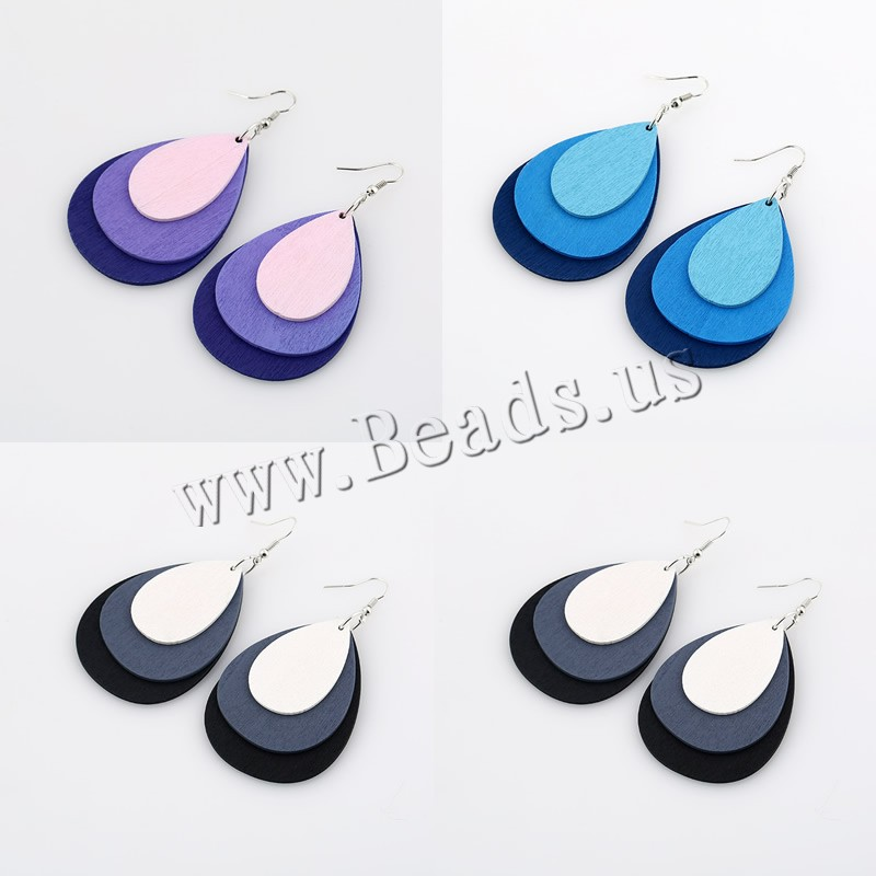 Buy Wood Drop Earring Zinc Alloy iron earring hook Teardrop platinum color plated dyed & woman colors choice 58x45mm Sold Pair