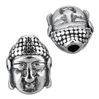 Buddhistische Perlen, Edelstahl, Buddha, Schwärzen, 11x14x6mm, Bohrung:ca. 2.5mm, 10PCs/Menge, verkauft von Menge
