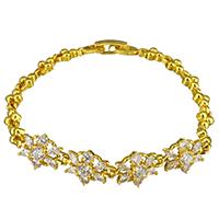 Zirkonia Armband, Messing, Blume, 24 K vergoldet, für Frau & mit kubischem Zirkonia, frei von Nickel, Blei & Kadmium, 15x10.5mm, 10x5mm, Länge:ca. 7 ZollInch, 2SträngeStrang/Menge, verkauft von Menge