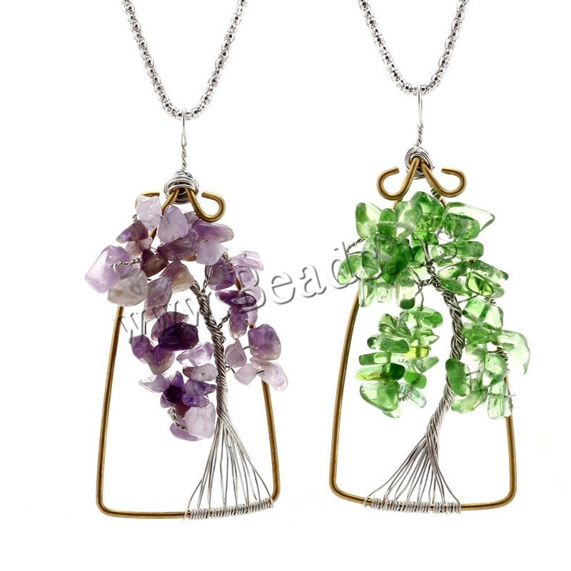 Buy Tree Life Necklace Zinc Alloy iron chain & Quartz antique silver color plated different materials choice & Unisex & lantern chain lead & cadmium free 45cm Sold Per Approx 17.5 Inch Strand