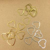 Messing Herz Anhänger, plattiert, keine, frei von Nickel, Blei & Kadmium, 30mm, Bohrung:ca. 1mm, 100PCs/Tasche, verkauft von Tasche