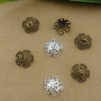 Messing Perlenkappe, Blume, plattiert, keine, frei von Nickel, Blei & Kadmium, 10mm, Bohrung:ca. 2mm, 100PCs/Tasche, verkauft von Tasche