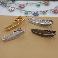 Krawatte Clip, Messing, Federn, plattiert, keine, frei von Nickel, Blei & Kadmium, 55x5mm, 10PCs/Tasche, verkauft von Tasche