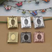 Messing Medaillon hängende Einstellung, Quadrat, plattiert, keine, frei von Nickel, Blei & Kadmium, 19x26x4mm, Bohrung:ca. 1.5mm, 10PCs/Tasche, verkauft von Tasche
