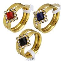 Edelstahl Ring Set, mit Kristall, Rhombus, goldfarben plattiert, verschiedene Größen vorhanden & für Frau & mit Strass, keine, 13.5x13.5mm, 3mm, 2PCs/setzen, verkauft von setzen