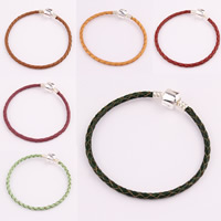 Lederband Armband, mit Zinklegierung, für Frau, keine, 190x3mm, Länge:7 ZollInch, 3StrangStrang/Tasche, verkauft von Tasche