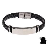 PU Schnur Armbänder, PU Leder, mit Edelstahl, geflochten & verschiedene Verpackungs Art für Wahl, schwarz, 38x12x5mm, verkauft per ca. 8 ZollInch Strang