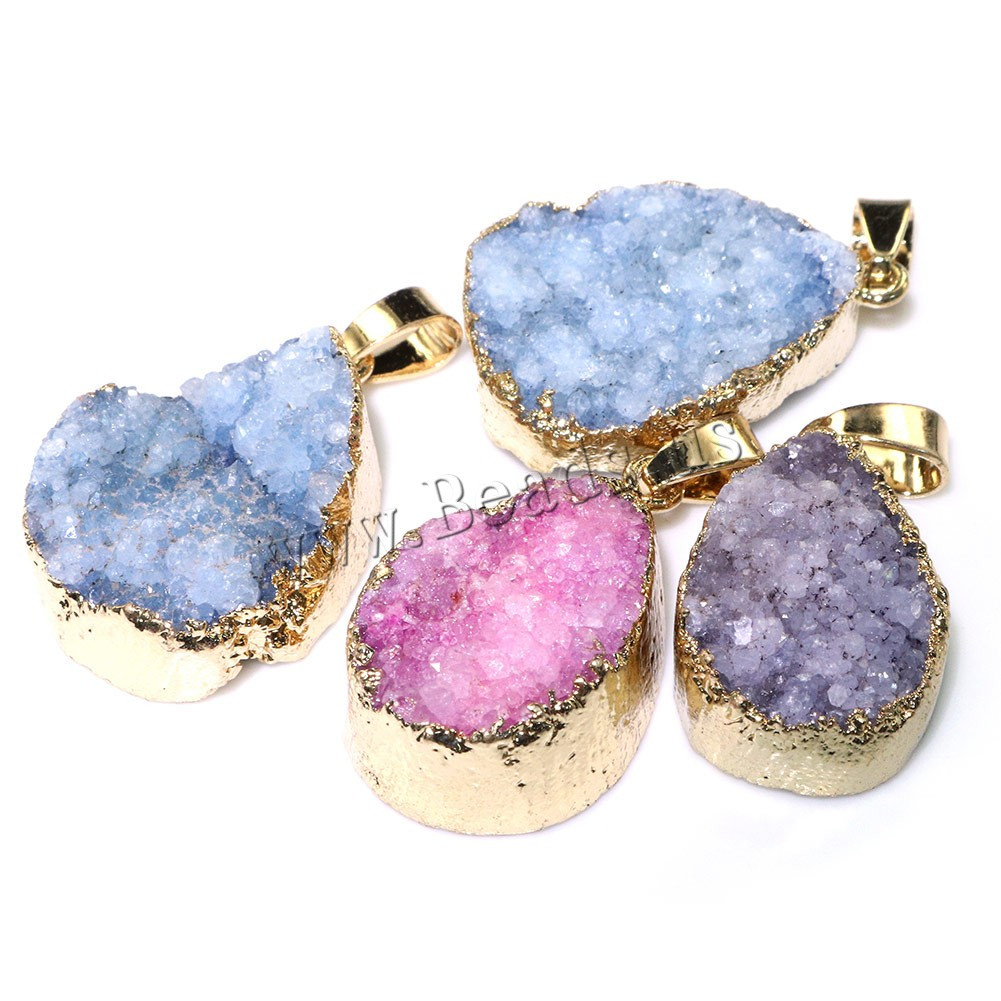 Buy Ice Quartz Agate Pendant Brass gold color plated dyed & natural & druzy style & mixed 14-17x25-28x10mm Hole:Approx 4x6mm Sold Lot
