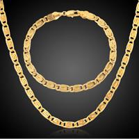 Messing Mode Schmuckset, Pullover Halskette & Armband, goldfarben plattiert, unisex, frei von Nickel, Blei & Kadmium, 5mm, Länge:ca. 8 ZollInch, ca. 23.5 ZollInch, verkauft von setzen