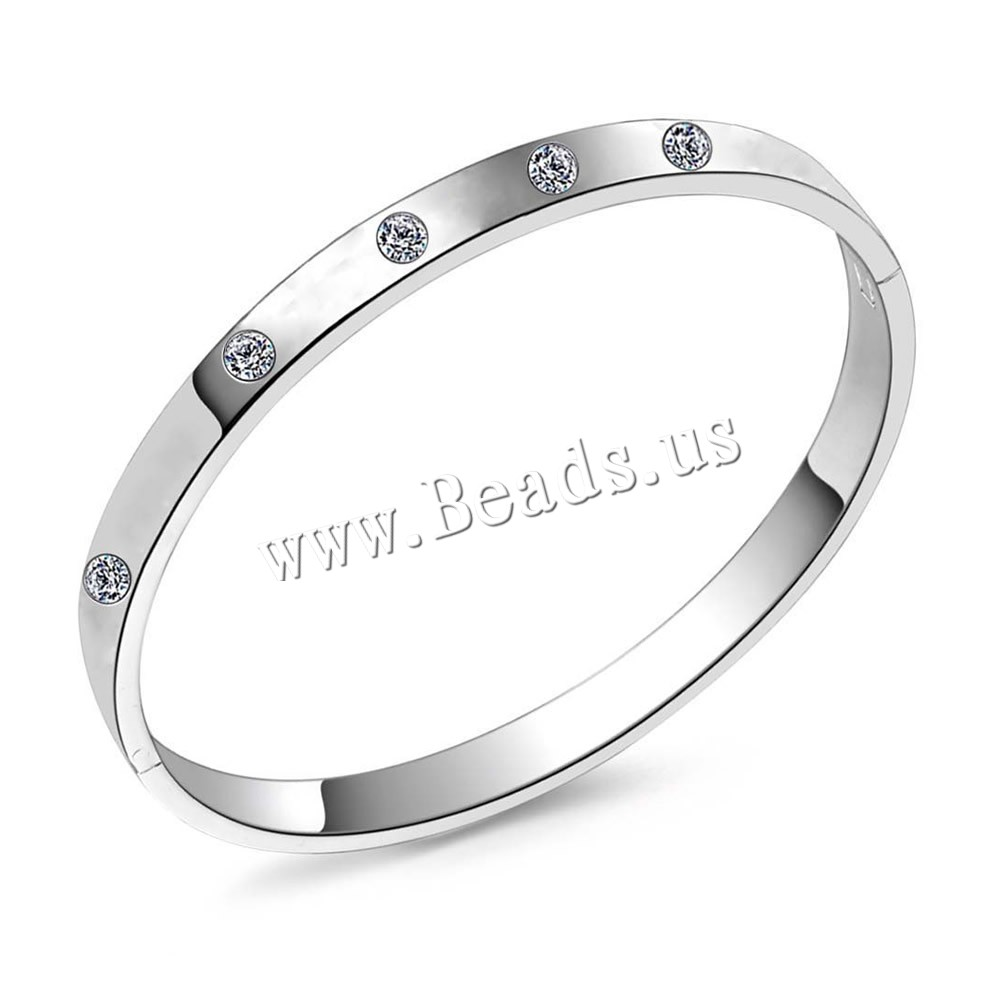 Buy Rhinestone Bracelet Brass real silver plated woman & rhinestone lead & cadmium free 65x7mm Inner Diameter:Approx 60mm Length:Approx 7 Inch Sold PC