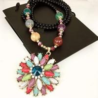 Zinklegierung Pullover Halskette, mit Synthetische Türkis & Kristall & Acryl, Blume, goldfarben plattiert, für Frau & facettierte, frei von Blei & Kadmium, 780mm, verkauft per ca. 30.5 ZollInch Strang