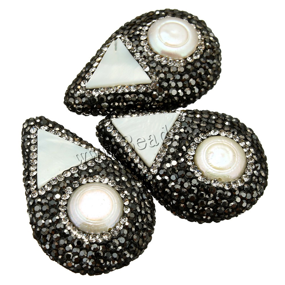 Natural Freshwater Pearl Loose Beads Clay Pave Freshwater Pearl rhinestone & mixed 25-27x40-42x12-14mm Hole:Approx 1mm 1 Sold Lot