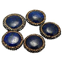 natürlicher Lapislazuli Perle, mit Ton, gemischt, 20-25x21-24x6-9mm, Bohrung:ca. 1mm, 10PCs/Menge, verkauft von Menge