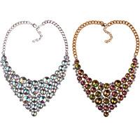 Kristall Halskette, Zinklegierung, mit Kristall, mit Verlängerungskettchen von 2.7Inch, plattiert, Twist oval & für Frau & facettierte & mit Strass, keine, frei von Nickel, Blei & Kadmium, 90mm, verkauft per ca. 20.8 ZollInch Strang