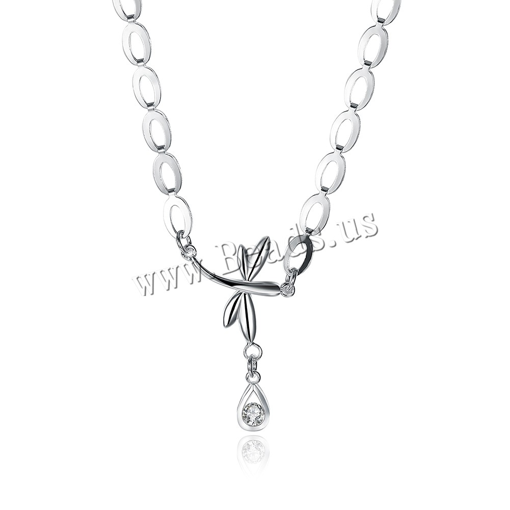 Comeon® Jewelry Necklace Brass 1.9lnch extender chain Dragonfly silver color plated woman & cubic zirconia nickel lead & cadmium free 24x40mm Sold Per Approx 17.7 Inch Strand