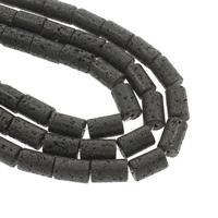Natürliche Lava Perlen, Zylinder, 14x9.5-15x10mm, Bohrung:ca. 1mm, ca. 23PCs/Strang, verkauft per ca. 14.5 ZollInch Strang