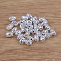 Messing hohle Perlen, oval, versilbert, frei von Blei & Kadmium, 7.5x11mm, Bohrung:ca. 1.5mm, verkauft von PC