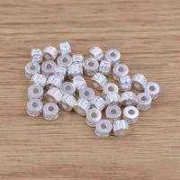 Buddhistische Perlen, Messing, Trommel, versilbert, om mani padme hum, frei von Blei & Kadmium, 5.3x3.8mm, Bohrung:ca. 2mm, verkauft von PC