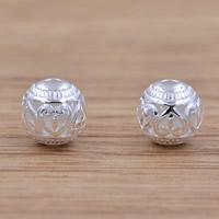 Messing hohle Perlen, Trommel, versilbert, frei von Blei & Kadmium, 8.2mm, Bohrung:ca. 1.5mm, verkauft von PC