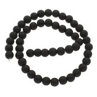 Mode Glasperlen, Glas, rund, verschiedene Größen vorhanden & satiniert, schwarz, Bohrung:ca. 1mm, Länge:ca. 14.5 ZollInch, 10SträngeStrang/Tasche, verkauft von Tasche