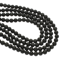 Schwarze Obsidian Perlen, Schwarzer Obsidian, rund, 8mm, Bohrung:ca. 1mm, ca. 48PCs/Strang, verkauft per ca. 14.5 ZollInch Strang