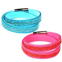 Mode Samtschnur Armbänder, Baumwollsamt, mit Zinklegierung, plattiert, Einbrenn-Lack & für Frau & mit Strass & 2 strängig, keine, 12mm, verkauft per ca. 15.3 ZollInch Strang