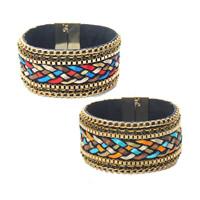 Mode Samtschnur Armbänder, Baumwollsamt, mit Satinband & Zinklegierung, goldfarben plattiert, für Frau, keine, 35mm, verkauft per ca. 7.5 ZollInch Strang