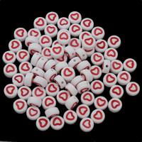 Acryl Schmuck Perlen, flache Runde, Emaille, 7x4mm, Bohrung:ca. 1mm, ca. 3600PCs/Tasche, verkauft von Tasche