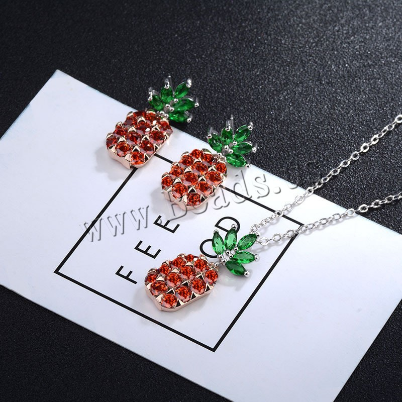 Buy 925 Sterling Silver Jewelry Sets earring & necklace plastic earnut & Crystal Pineapple micro pave cubic zirconia & oval chain & faceted colors choice 20x12mm 380mm Length:Approx 14.5 Sold Set