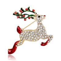 Weihnachten Broschen, Zinklegierung, Weihnachtselch, goldfarben plattiert, Weihnachtsschmuck & für Frau & Emaille & mit Strass, frei von Blei & Kadmium, 41x49mm, 3PCs/Tasche, verkauft von Tasche