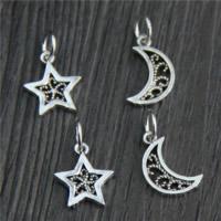 925 Sterling Silber Anhänger, Thailand, Mond und Sterne, verschiedene Stile für Wahl, Bohrung:ca. 2mm, 20PCs/Menge, verkauft von Menge